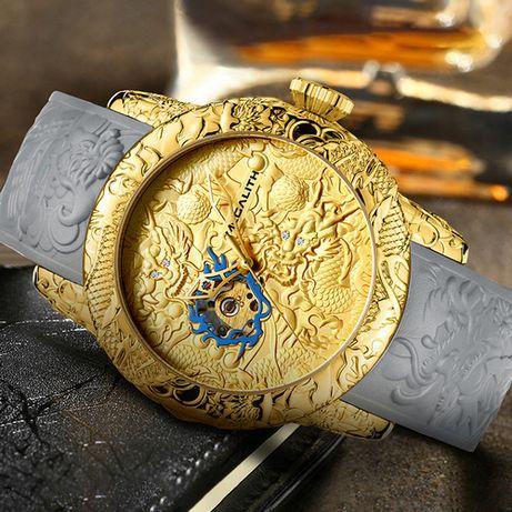 Оригинальные мужские наручные часы Megalith 8041M Dragon Sculpture