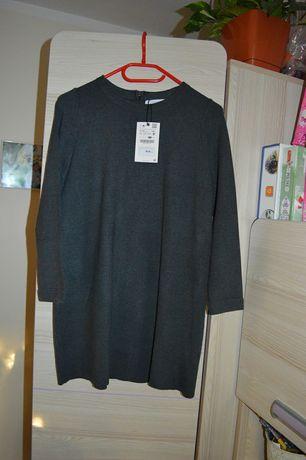 Zara sukienka dzianina grafit 152 nowa