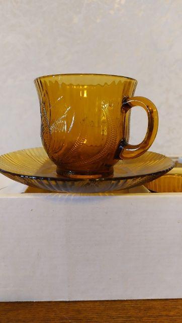 Чайный сервиз новый  посуда чашки блюдца стекло винтаж подарок