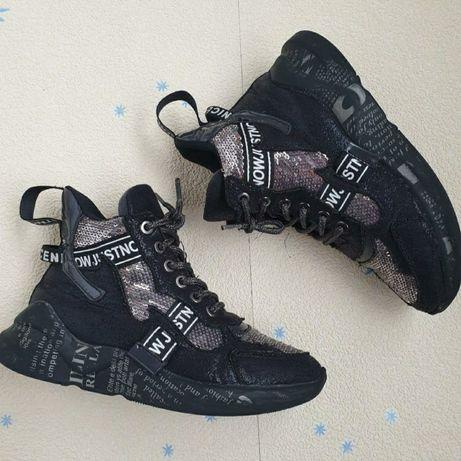 Демисезонные ботинки для девочки Baby Sky р. 30  пайетка