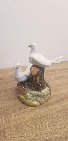 TENGRA Para Gołębi siedząca na drzewie Dwa gołąbki porcelana Spain