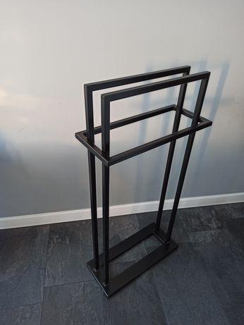 Wieszak na reczniki stojak meble loft rekodzielo nowoczesny czarny