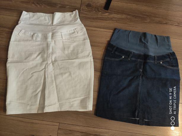 Ubrania ciążowe spódniczka dżins biała spodenki pas bluzka swetr