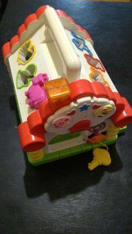 Музыкальный домик - сортер, мелодии и звуки животных Huile Toys