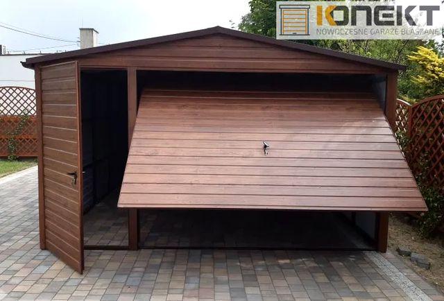 Nowoczesny Garaż Blaszany Drewnopodobny Wiata 4x5 5x6 6x6 4x6 Garaże