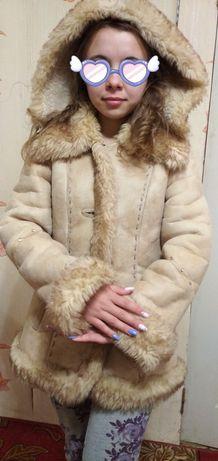 Теплая дублёнка на зиму для девочек или девушек