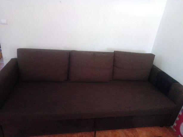 Sofá-cama com arrumação de 3 lugares do ikea friheten castanho,