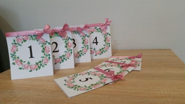 Kotyliony weselne plus numerki na stoły od 1 do 7