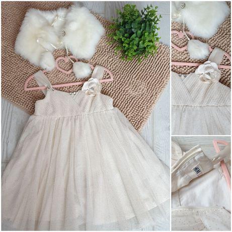Нарядное фирменное платье H&M 3-5 лет на рост 98-110