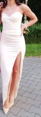Długa kremowa sukienka z rozcięciem, rozm. XS (ślub/wesele/przyjęcie)