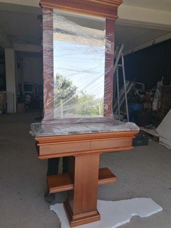Consola+Espelho com moldura Cerejeira