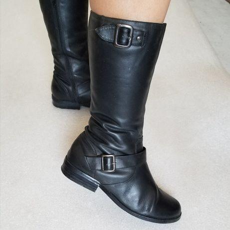 Демисезонные кожаные осенние сапоги ботинки сапожки