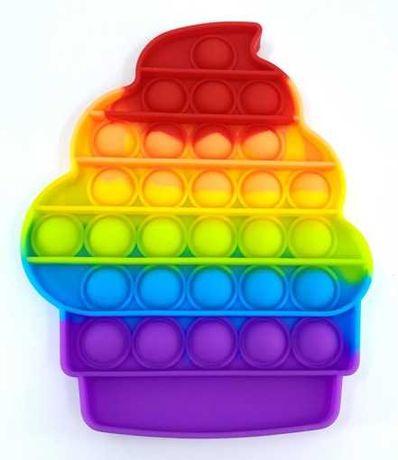 Pop It Rainbow Brownie, пупырка, поп ит, Пироженное кекс Радужное