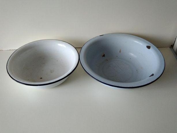 большая эмалированная миска тазик времен СССР диаметр 27 см и 32 см