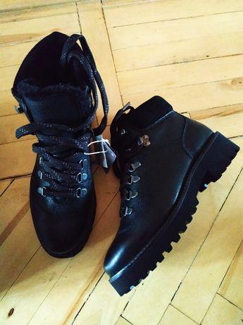 Ботинки стильные кожаные H&M утепленные на толстой грубой подошве 38 р