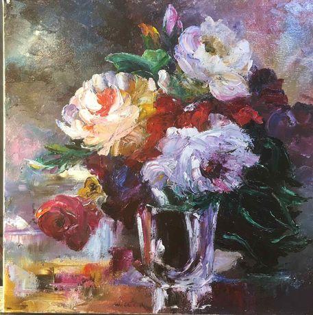 Картина маслом.Розы.