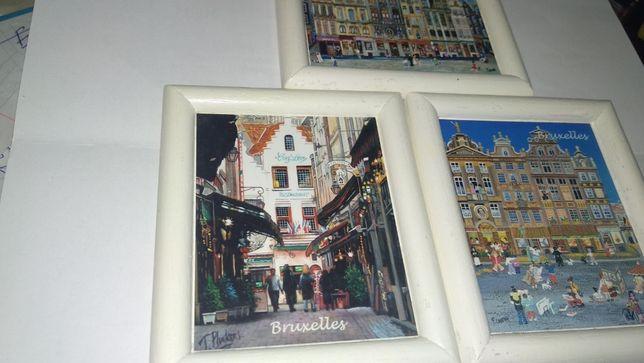 подарок БЕЛЬГИЯ Bruxelles Брюссель магнит сувенир картина 3шт дерево
