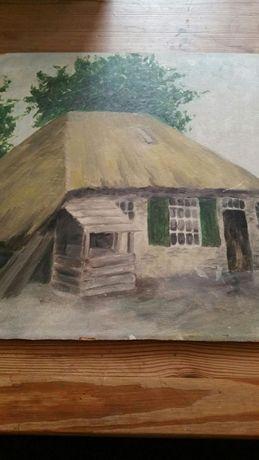 "Piekny stary obraz ""Wiejska chata"" olej na plycie"