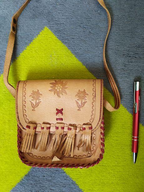 Mini torebka damska góralska ręcznie szyta skórzana