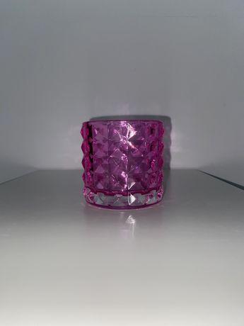 Różowy świecznik, kryształowy wazonik, mini szklany wazon