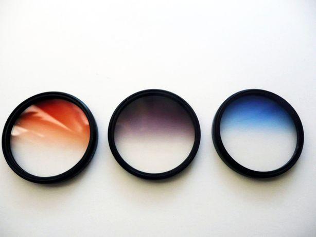 3 filtry foto połówkowe (pomarańczowy/niebieski/szary) 58mm MASSA