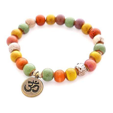 Bransoletka ceramiczna zawieszka OM mantra boho hippie orient handmade