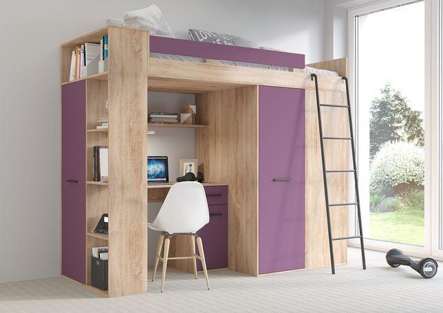 Łóżko pietrowe Antresola 2020 - 5w1 - 6 kolorów - sonoma + fiolet