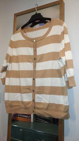 Sweter bluzka camelowo - białe pasy, złote guziki, A Wear, 44-46