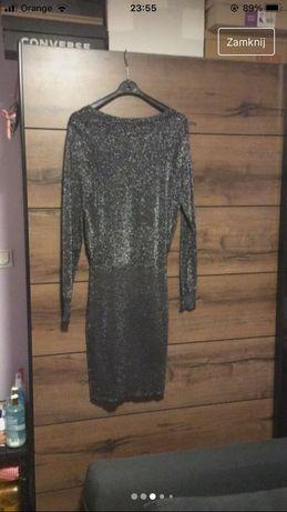Czarna sukienka mini ze srebrem