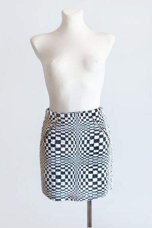 UNIKAT Designerska spódniczka op-art S 36