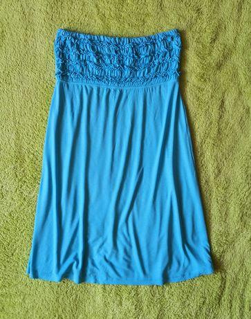 Niebieska sukienka bez ramiączek 40