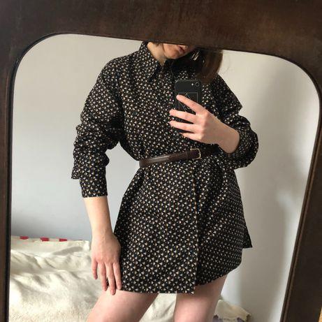 Sukienka/koszula klimat lat 70, handmade, vintage, bawełna