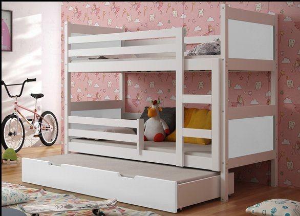 Trzyosobowe łóżko piętrowe LENA z drewna sosnowego!