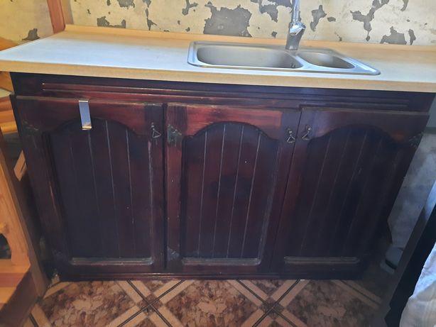 Meble kuchenne, szafka ze zlewem i baterią  oraz 3 oddzielne szafki