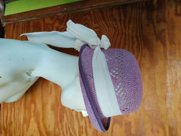 kapelusz słomkowy fioletowy z kokardą 55 nowy