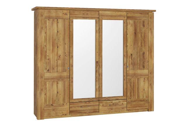 Drewniana szafa dębowa 4 drzwiowa z lustrami do sypialni