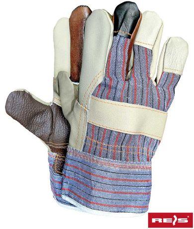 Rękawice ochronne wzmacniane skórą bydlęcą.
