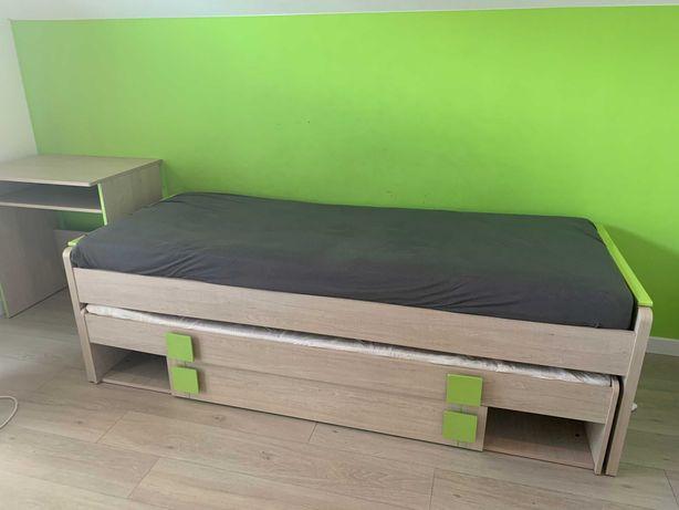 łóżko młodzieżowe podwójne w kolorze dąb santana/zieleń