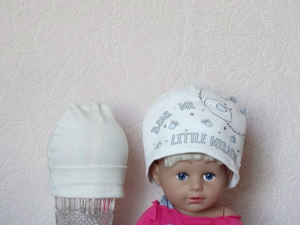 Демисезонная шапка 68 размер, шапочка David's Star, вторая в подарок