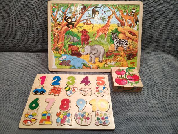 Zabawki drewniane edukacyjne, puzzle GOKI