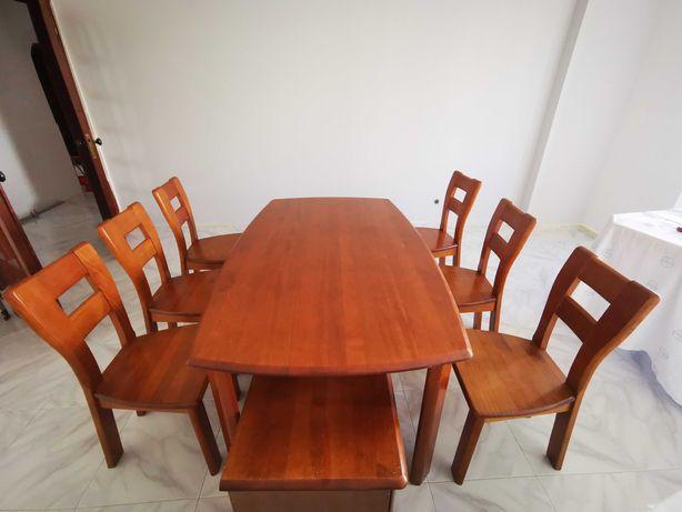 Mesa de jantar extensível + 6 cadeiras - cerejeira