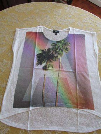 Par de T-shirts Mango com palmeiras