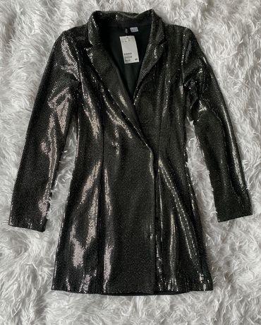 H&M cekinowa mini sukienka Marynarka ! Rozm. XS Nowa