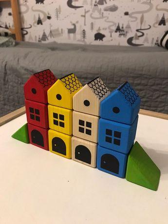 Детский конструктор, деревянные кубики, бруски, домики(будиночки)