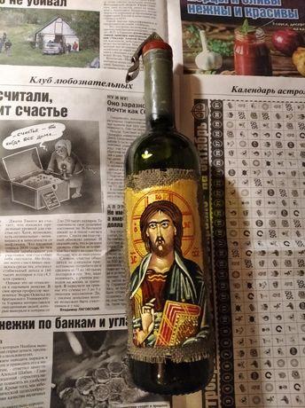 Бутылка для вина Кагора наливки с иконой Иисуса и вакумной пробкой