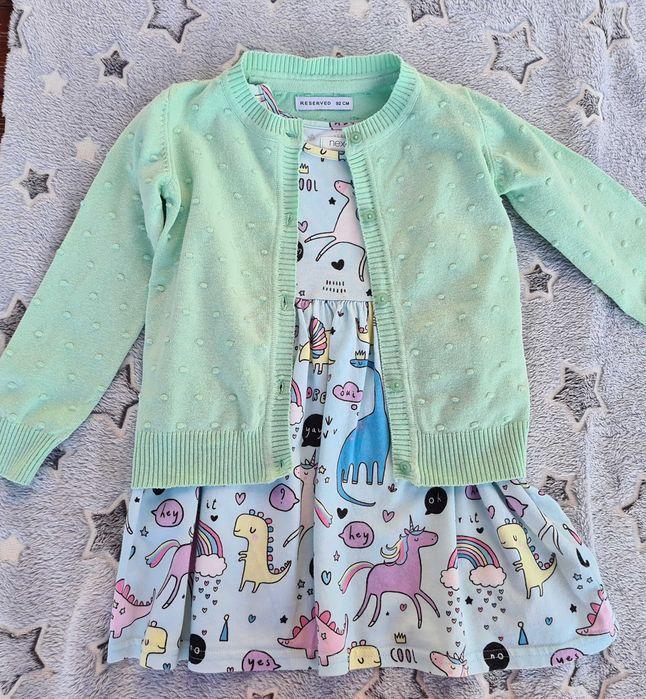 Sukienka next 92 koniki krótki rękaw plus sweterek reserved 92 miętowe Szczecinek - image 1