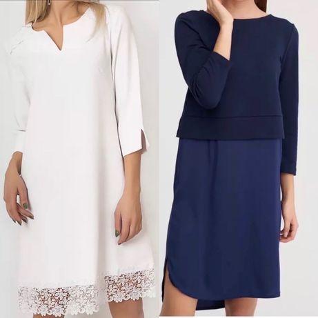 Белое платье с кружевом и синее платье миди