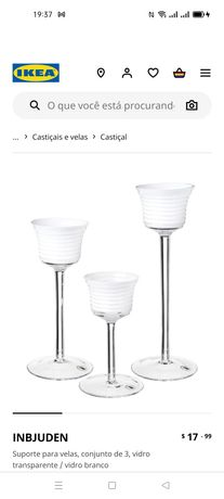 Conj.3 Suportes p/velas, Inbjuden Ikea. Novo