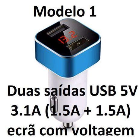 Carregador 12V e 24V USB 5V com Ecrã