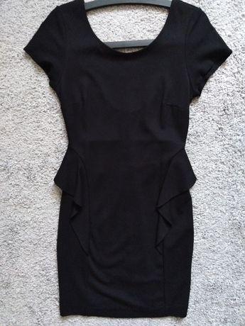 ZARA elegancka sukienka baskinka mała czarna nowa